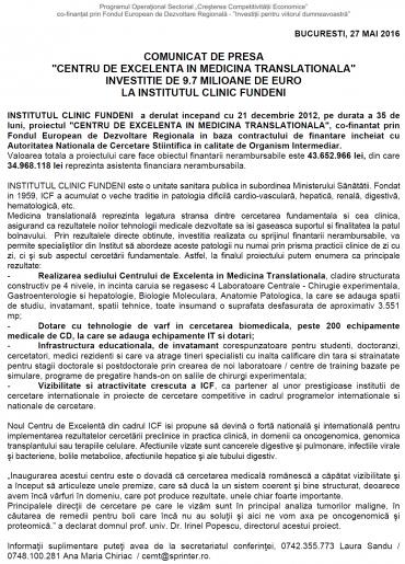 COMUNICAT DE PRESA - Bucuresti, 27 Mai 2016