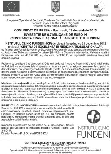 COMUNICAT DE PRESA - Bucuresti, 13 Decembrie 2013